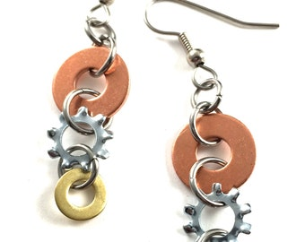 Dangle Earrings Mixed Metal Hardware Jewelry