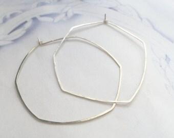 Large silver hoop earrings, sterling silver organic hoops, large delicate hoops, hexagon hoops, simple hoops earrings, ready to ship