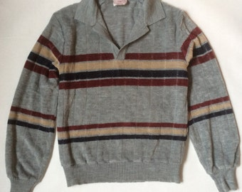 1970's velour sweater with collar, gray with navy blue, tan, and burgundy stripes across the chest and upper sleeves, men's small / medium
