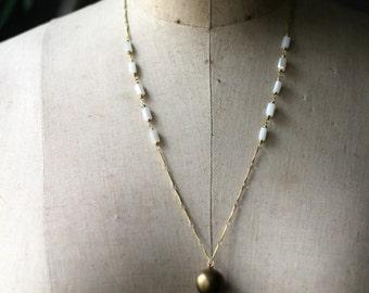 Ball Locket Pendant, Vintage Orb Locket Necklace, Ball Locket, White Iridescent Beads, Gold Brass, Boho Bohemian