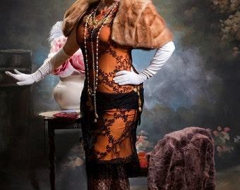 1920's Flapper Dress Costume Fur Cape and Headband Size Adjustable 10-14