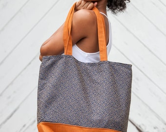 Orange and Blue Fabric Tote Bag Shopping Bag