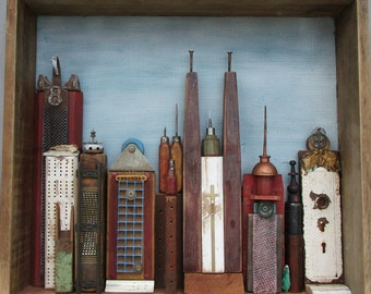Blue Sky Reclaimed Wood Cityscape, Building Number 8
