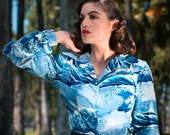 Japanese wave print 1940s style rayon challis long sleeve blouse with NOS 40s buttons Small to L plain cuff