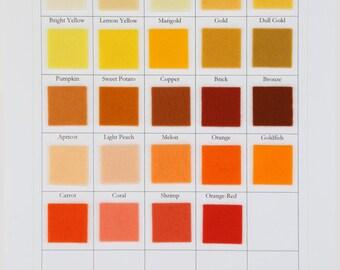 Yellow Felt, Orange Wool Felt, Large Felt Sheet, 18 Inch Square, Choose Any Shade, 100% Wool, Brick, Coral, Applique, Primitive Stitchery
