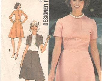 Simplicity 6145 1970s Misses  Designer Dress Contrast Faux Bolero Pattern Womens Vintage Sewing Pattern  Size 12 Bust 34