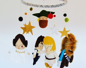 A Star Wars Themed Mobile //  Modern space sci-fi nursery mobile for your little princess leia or tiny luke skywalker