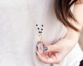 LAVA ROCK diffuser jewelry for essential oils - CRYSTAL quartz wire wrapped lava orbit necklace