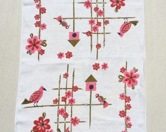 Vintage Towel Pretty Pink Birds in the Garden