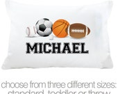 Sports theme with sports balls pillowcase / pillow - custom personalized pillowcase great birthday gift