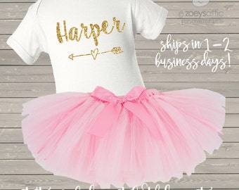 Pink and gold first birthday bodysuit and pink tutu set / first birthday outfit pink and glitter gold or silver