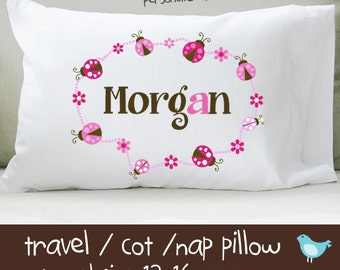 Personalized colorful ladybug travel or toddler pillow insert and pillowcase