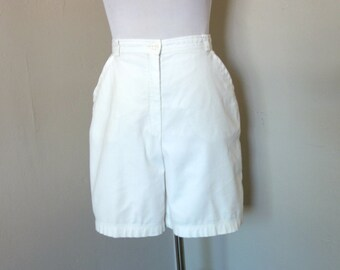 Vintage Escada Shorts, Vintage 1990s Escada Sport Sz. 42/10 White Cotton Shorts with Side Pockets, Unlined Front Zip Vintage Designer Shorts