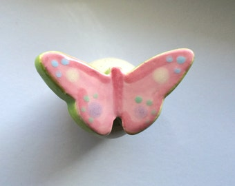 Pink and Green Pastel Butterfly Knob, Handle, Drawer Pulls