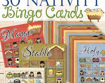 30 Christmas Nativity Bingo Cards - INSTANT DOWNLOAD