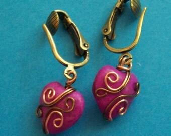 Women's Dangle Earrings Girlfriend Gift for Her,Heart Jewelry Gift for Wife,Heart Earrings Gift for Wife,Heart Earrings Girlfriend Gift