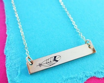 Gold bar necklace, feather necklace, hand stamped bar, minimal necklace, layered, layering, trendy, birds of a feather, Otis b jewelry