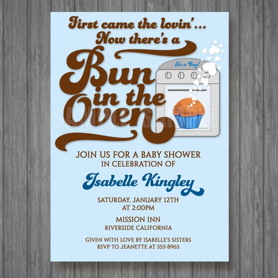Bun In The Oven Baby Boy Shower Invitations Jpeg Digital File