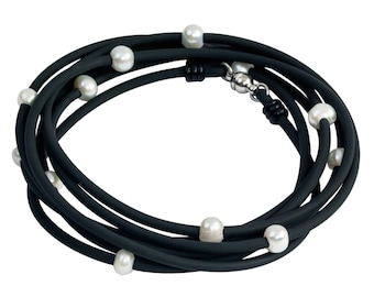 freshwater pearl and rubber necklace, edgy rubber jewelry, versatile long single strand, black and white