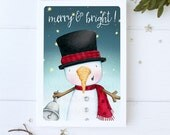 "greeting card - christmas -holiday - snowman - snowmen -snowy night - star  - ""Christmas bells are ringing!- No.4"""