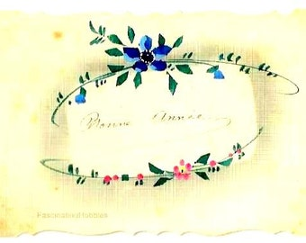 vintage HANDPAINTED FLOWERS- FRENCH color Postcard- Pink, Purple,Green, frame - back written 1927 - Holiday Greetings- slight age stains