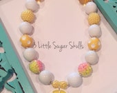 Lemonade Dream Citrus Lemon Theme Chunky Bubblegum Bead Necklace