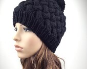 Hand Knit Hat  woman hat winter hat wool Beanie Hat Pom pom hat Black hat