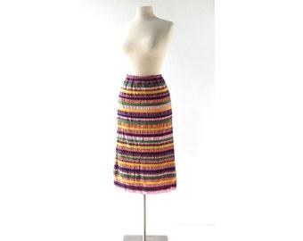 Vintage 60s Skirt | Festival Caravan | Ribbon Striped Skirt | 21-30W Small