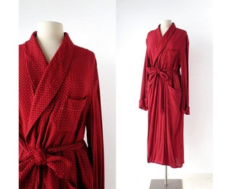 1950s Men's Robe / Dressing Gown / Rayon Robe / Deadstock / L Large