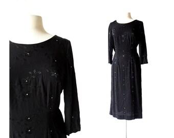 Vintage 40s Dress   Night Blooms   Embroidered Rhinestone Dress   1940s Dress   Large L