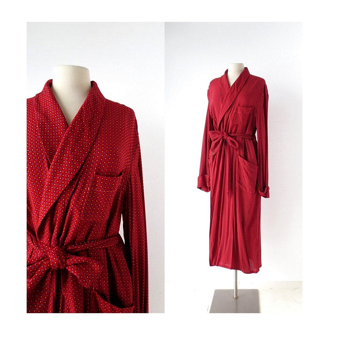 Vintage Men S Robe Dressing Gown 1950s Red By