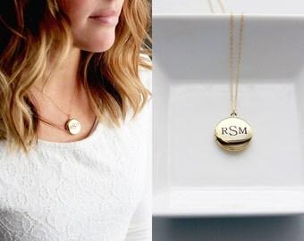 Engraved Locket Necklace - Medium Locket Necklace Personalized Gift Necklace Custom Locket Silver Locket Gold Locket Personalized Gift
