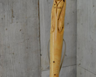White Cedar Staff, Indian Walking Stick Carving - Staff - Hand Carved Indian Hiking Stick, Wood Carvers of Etsy, 1366