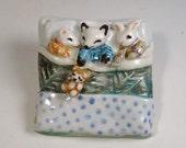 White Mouse, Arctic Fox and Bunny Ornament - Sleeping Animal Babies - Handmade Ceramic Pottery - Unique Original Miniature Sculpture