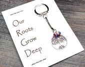 Small Tree - Our Roots Grow Deep - Custom Made Birthstone Keychain