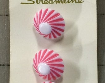 """Three Vintage Buttons, 5/8"""" wide Pink and White Striped Parasols Umbrellas (A few additional buttons available)"""