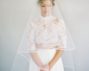 1/2 Inch Horsehair Veil, Ribbon Edge Wedding Veil, Blusher Veil, Drop Veil, Double Layer Veil, Classic Veil, Ivory Veil, Ballet Veil, 1628