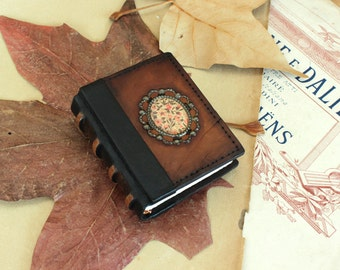 Miniature Book or Journal, Brown Vintage Leather - Floral Charm