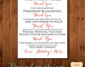 To Our Family and Friends- Thank You Wedding Sign- Wedding Sign- Reception Sign, {FS02}