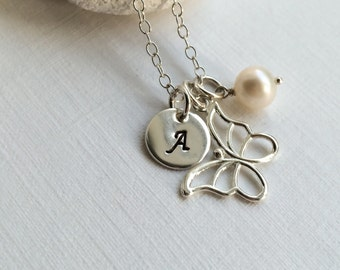 Sterling Silver Personalized Butterfly Necklace - Personalize silver necklace, Butterfly Necklace