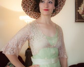 1930s Vintage Bolero - Lovely Sheer Ivory Floral Lace 30s Cropped Jacket with Trumpet Sleeves and Scalloped Edges