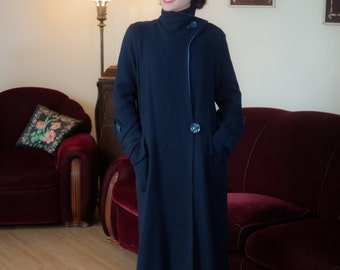 Vintage 1930s Coat and Skirt Set - Rare Navy Blue and Periwinkle Wool Ultra Deco Early 30s Set with Angular Lines Galore