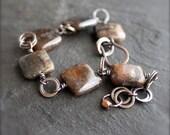 Staurolite Gemstone Bracelet - Brown, Black, Peach, Pink, Oxidized Patina, Rustic Copper Chain, Beaded Bracelet