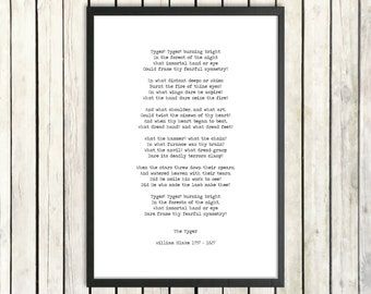 William Blake Hand Typed Printable Poetry 'Tyger, Tyger' Instant Download Classic Literature Poster Digital Poem Instant Poetry Gift Print