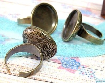 Brass Ring Blank concave setting for 21mm round glass dome cab , Adjustable mid band , oxidized rustic antique Gold Bronze plated , boho