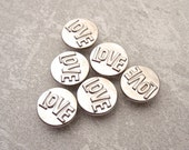 All You Need is Love - Embossed Metal Buttons 15mm - 5/8 inch Small Shiny Silver Metal Buttons - 6 VTG NOS Silver Tone Shank Buttons MT81