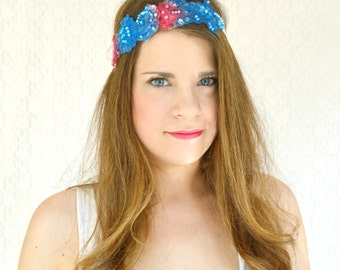 Boho Hair Accessories Lace Headband Adult 4th of July Headband Flower Crown Unique Headband Bohemian Clothing Boho Headband Red White Blue