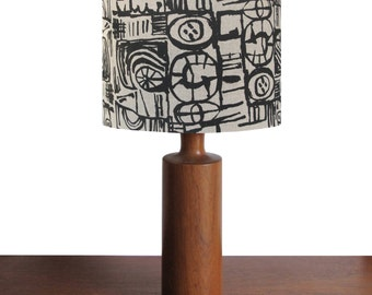 Hand screen printed linen lampshade with black Sketch (small) design
