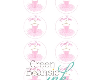 PINK TUTU BALLERINA Printable Favor Tags