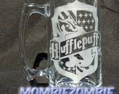 Hufflepuff Etched Stein / Beer Mug Harry Potter Hogwarts house